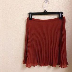 🔴BOGO! Garnet Hill Rust Pleated Skirt LIKE NEW